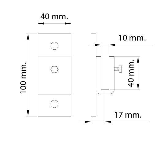 Croquis soporte de extremo para barra de colgar carne