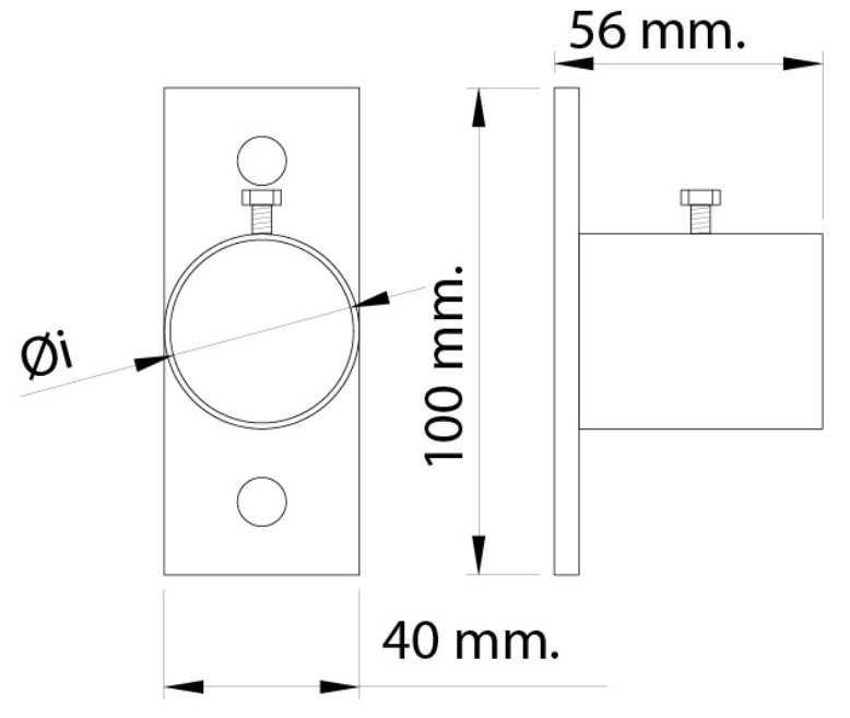 Plano soporte pared barra